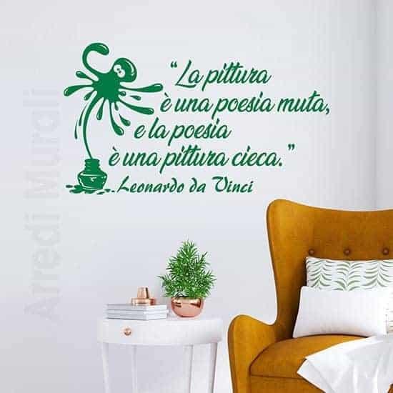 Adesivi murali frase Leonardo da Vinci verde
