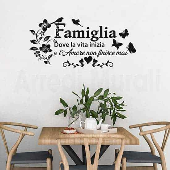 Adesivi murali frase famiglia decorazioni da parete