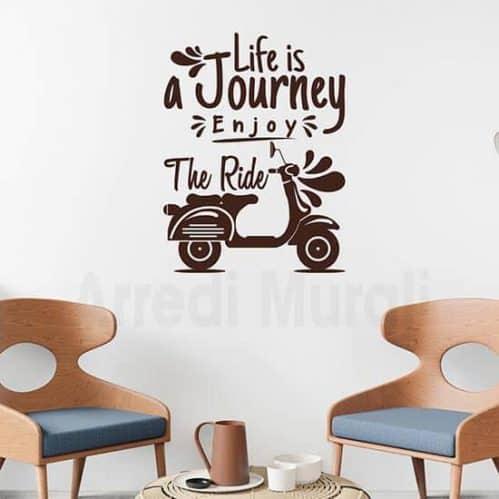 Adesivi murali frase viaggio colore marrone