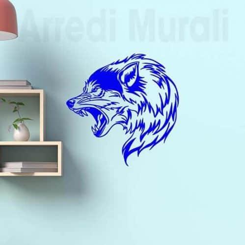 Tattoo adesivo da parete lupo decorazione murale blu