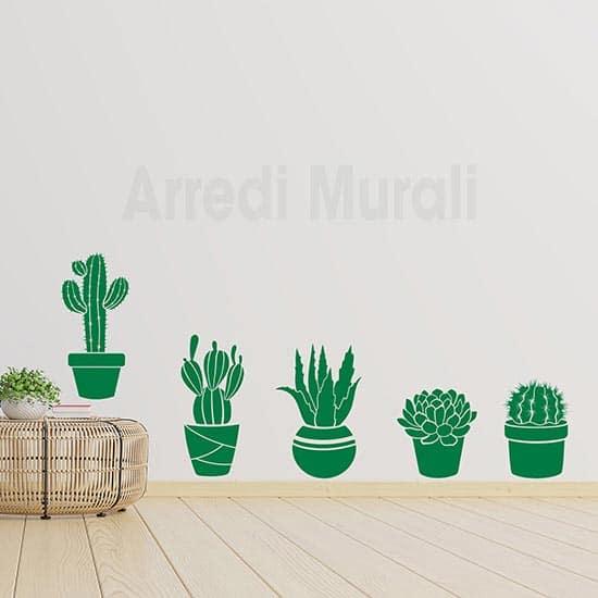 Adesivi murali piante grasse decorazioni da parete colore verde