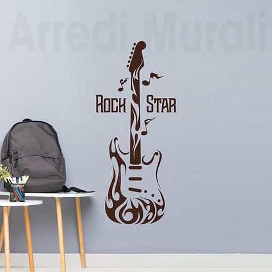 Adesivi da parete chitarra rock, decorazioni murali marroni