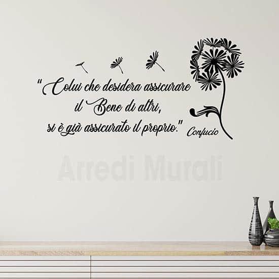Adesivi da parete frase Confucio, citazioni adesive murali nere