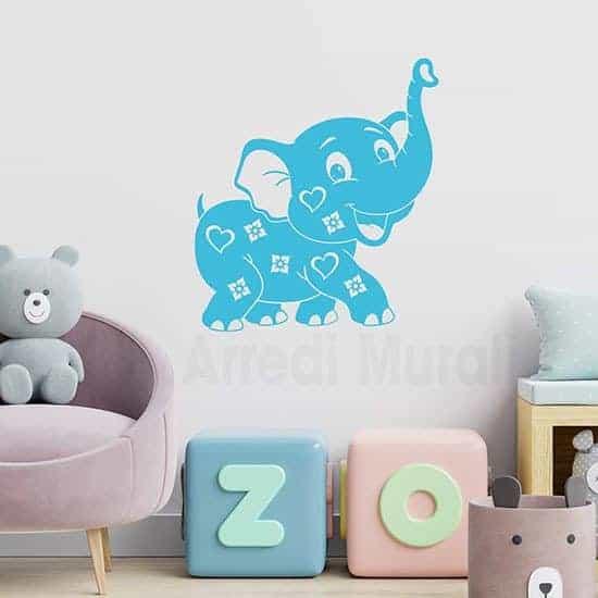 Adesivi murali per bambini elefantino per decorare la cameretta