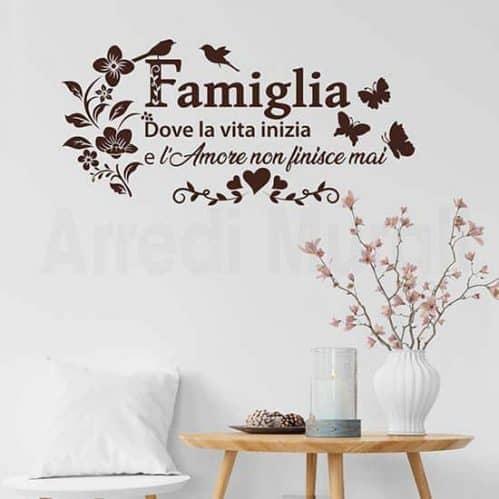 """Adesivi murali frase famiglia """"dove la vita inizia e l'amore non"""