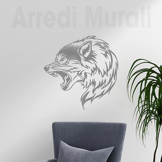 Tattoo adesivo da parete lupo decorazione murale argento