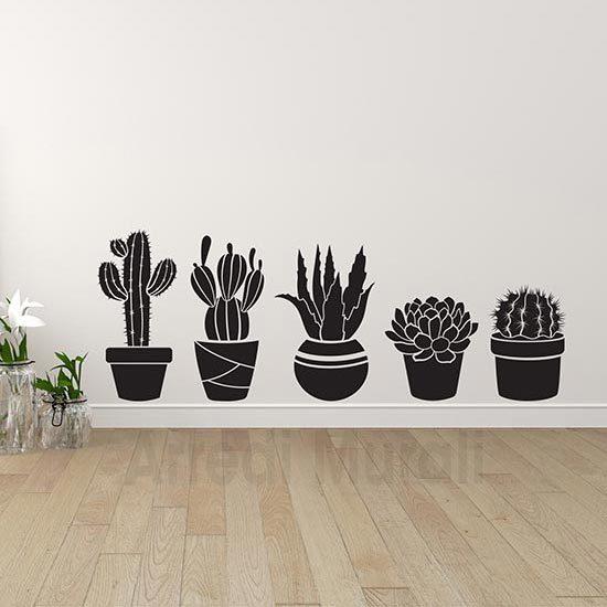 Adesivi murali piante grasse decorazioni da parete colore nero