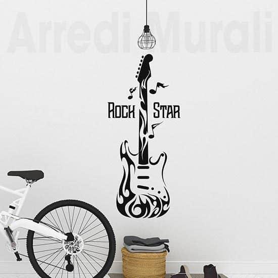 Adesivi da parete chitarra rock, decorazioni murali ispirati alla musica