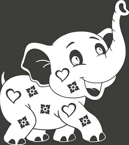 Adesivi murali per bambini elefantino bianco