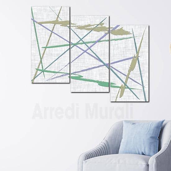 Quadri astratti tris di stampe moderne su tela per decorare le p