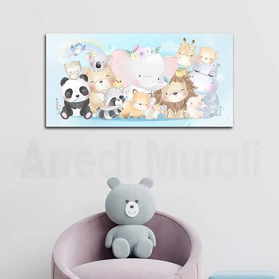 Quadro moderno per bambini con animaletti decorazione da parete