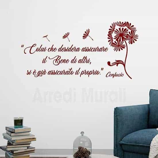 Adesivi da parete frase Confucio, citazioni adesive murali borde