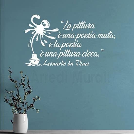 Adesivi murali frase Leonardo da Vinci bianco