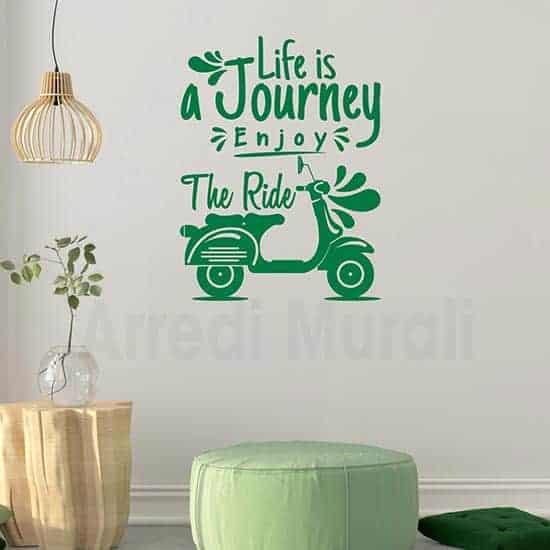 Adesivi murali frase viaggio colore verde