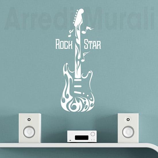 Adesivi da parete chitarra rock, decorazioni murali bianche
