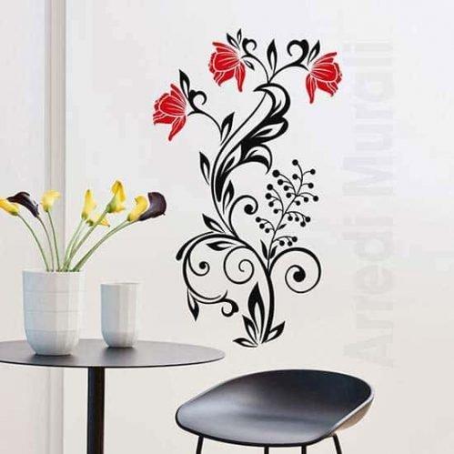 Decorazioni adesive murali con fiori stilizzati da parete