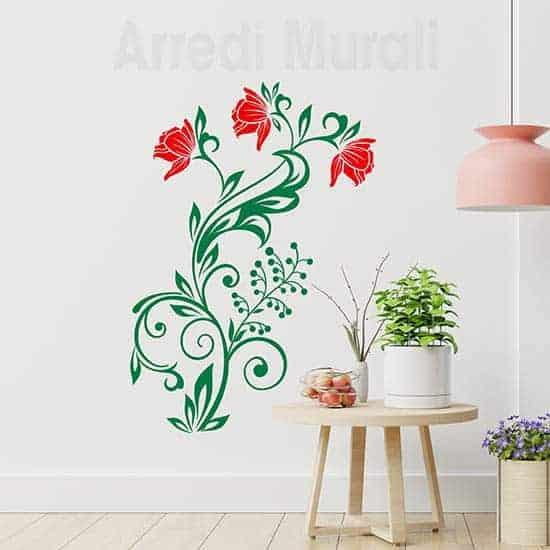 Decorazioni adesive murali con fiori stilizzati