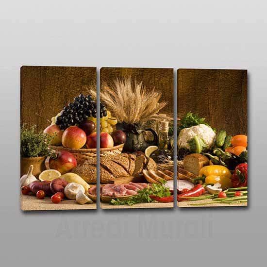 Quadri moderni cucina cibo 3 tele