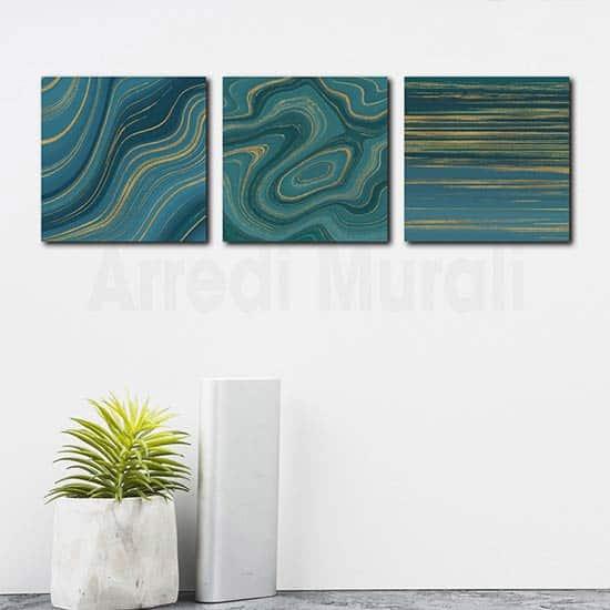 Quadri astratti tre stampe moderne su tela per decorare le pareti