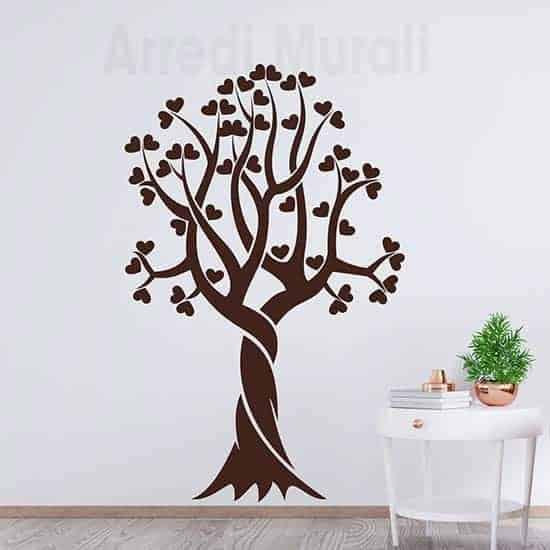 Adesivi murali albero stilizzato cuori decorazioni da parete