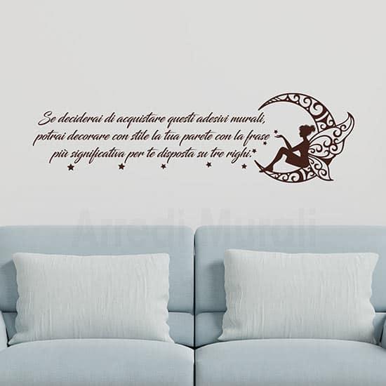 Adesivi murali personalizzati con frase e luna