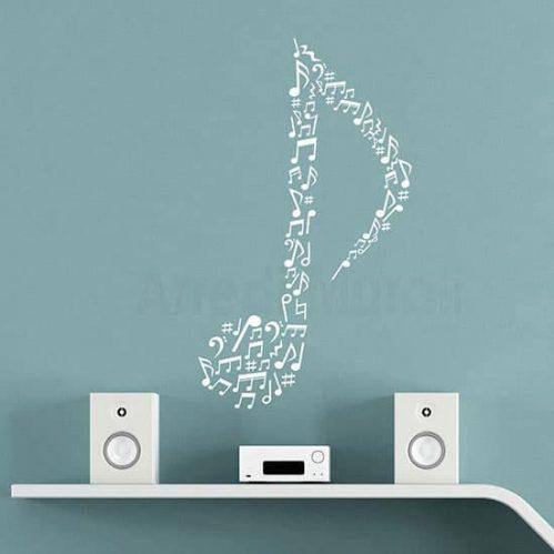 Adesivi da parete note musicali, decorazioni adesive murali