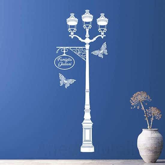 Adesivi murali personalizzati con lampione bianchi