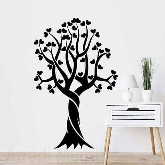 Adesivi murali albero stilizzato cuori nero
