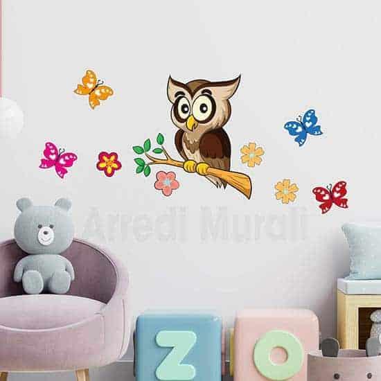 Adesivi murali bambini gufo con farfalle