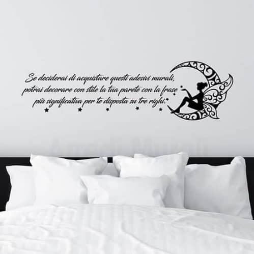 Adesivi murali personalizzati con frase e luna di colore nero