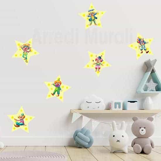 Adesivi per bambini clowns murali per decorare camerette