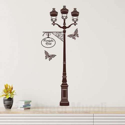 Adesivi murali personalizzati con lampione per la famiglia