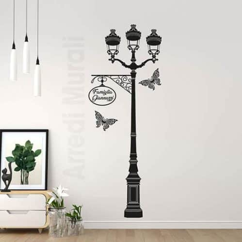 Adesivi murali personalizzati con lampione nero