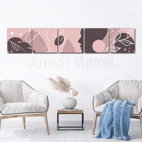 Quadri astratti cinque stampe moderne su tela