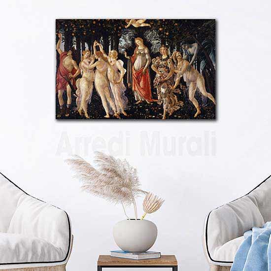 Quadri famosi la primavera di Botticelli, stampe su tela