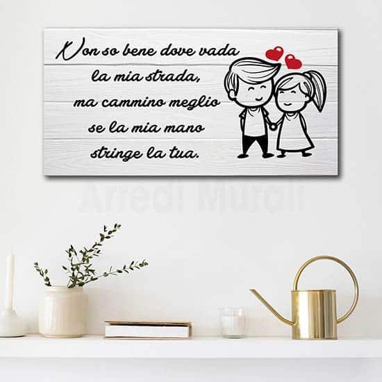 Quadro con frase d'amore stampata su tela, decorazione da parete