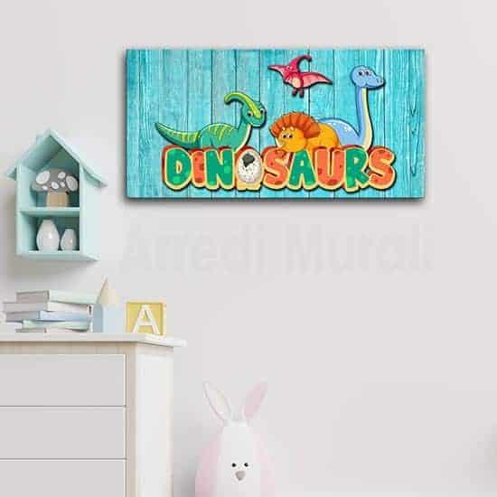 Quadro moderno per bambini con dinosauri, decorazione murale