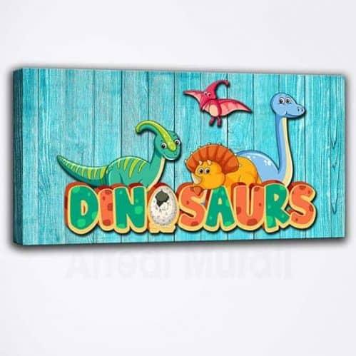 Quadro moderno per bambini con dinosauri