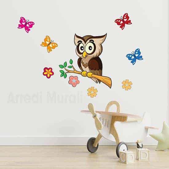 Adesivi murali bambini gufo con farfalle per decorare le camerette