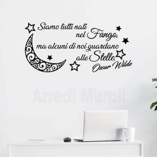 Stickers murali frase citazione Oscar Wilde, scritte adesive