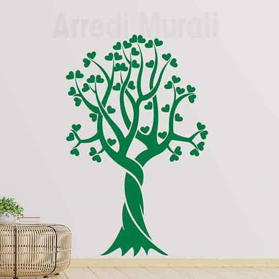 Adesivi murali albero stilizzato cuori colore verde