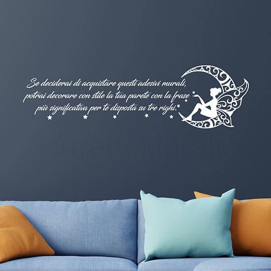 Adesivi murali personalizzati con frase e luna di colore bianco