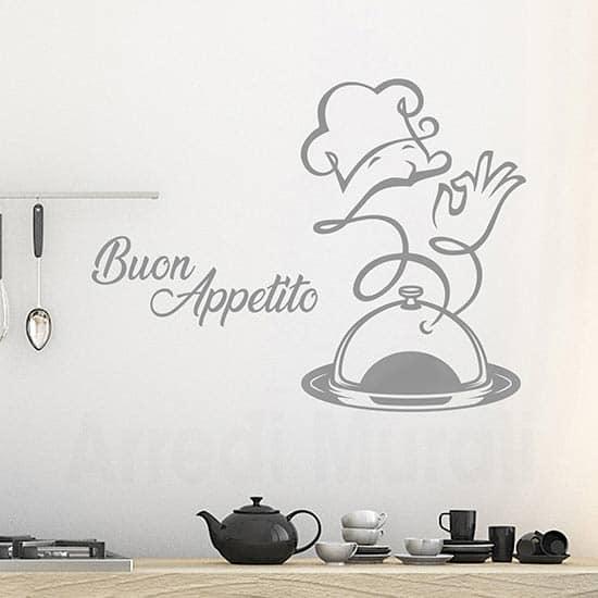 Adesivi per la cucina buon appetito, decorazioni da parete