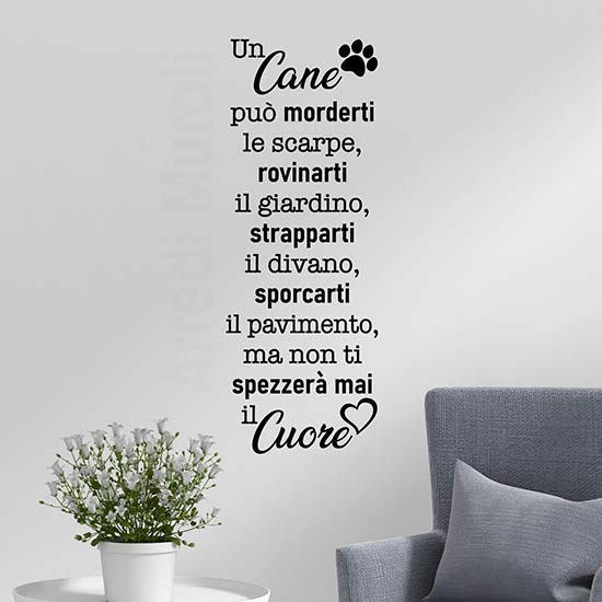 Frase adesiva da parete sul cane