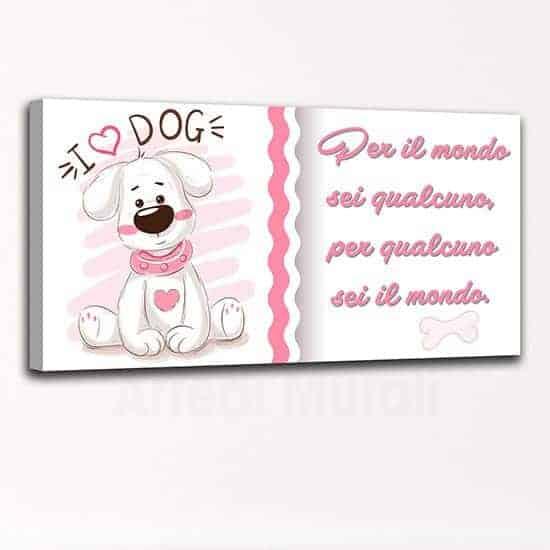 Quadro cane con frase per bambini