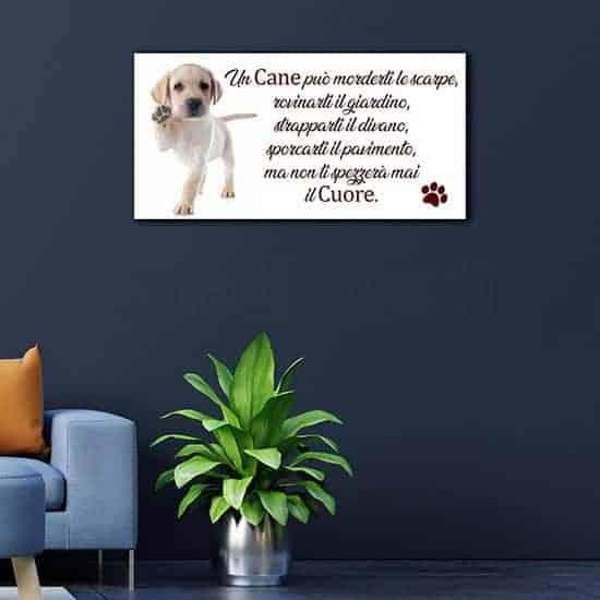 Quadro da parete con frase sul cane, particolare stampa su tela