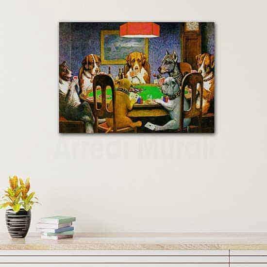 Quadri famosi poker con cani, stampa su tela