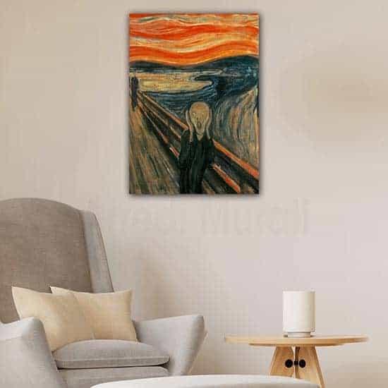 Quadro famoso l'urlo di Munch, stampa su tela