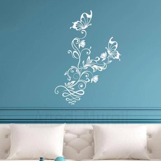 Wall stickers fiori e farfalle decorazioni adesive murali