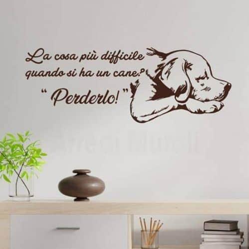 Adesivi da parete con frase sul cane
